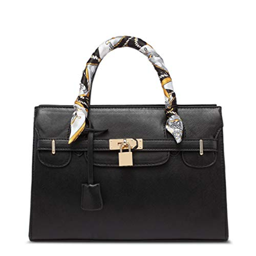 Femmes Sac à bandoulière Grande écharpe en Soie fourre-Tout Litchi Platinum Bag 5 Couleurs (31 * 22 * 9.5 cm) (Couleur : Noir)