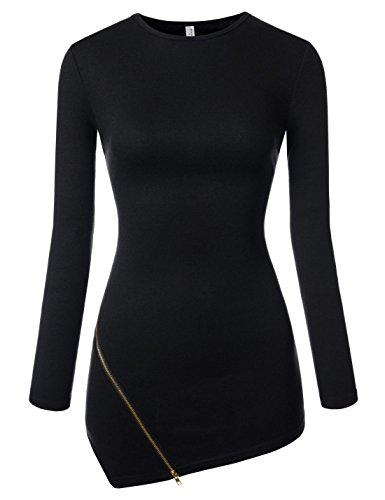 NEARKIN (NKNKWZT65) Womens Slim Cut Crewneck Unbalanced Hem Zippered Tshirts BLACK US XL(Tag size - Zippered Sleeve Cotton Long