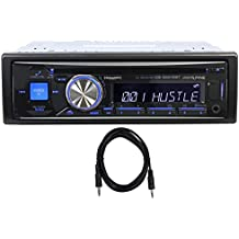 "Package: Alpine CDE-SXM145BT Single Din Advanced Bluetooth CD/MP3 Receiver With SiriusXM Tuner Included, Made for iPhone/iPod + Trisonic 6 Foot 3.5"" P-Text 24/48 Aux Input Wire"