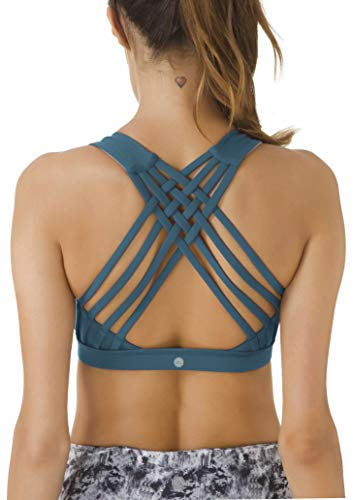- QUEENIEKE Women's Medium Support Strappy Back Energy Sport Bra Cotton Feel Size S Color Teal
