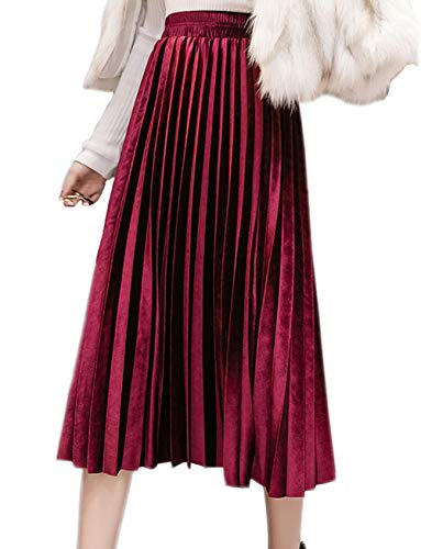 (SCHHJZPJ Fall Winter Skirt, Women's Velvet High Waist Pleated Midi Skirts Wine )