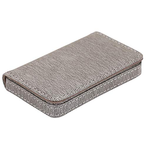 Mens Womens PU Leather Name Card Holder Bifold Wallet ID Credit Card Case Holder Business Gift (Gray) ()