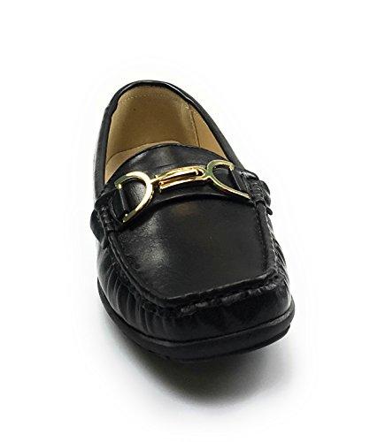 Pierre Dumas Mujeres Hazel-7 Mocasín De Cuero Negro Comfort Zapatos (6, Negro / Hazel26)