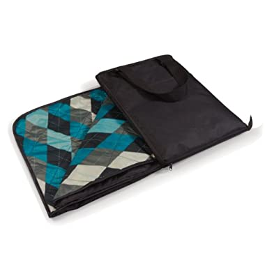 Picnic Time Vista Outdoor Picnic Blanket Tote, Black with Blue Argyle