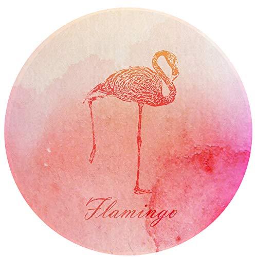 MOANDJI Pink Watercolor Flamingo Soft Circular General Purpose Floor Mat Or Rug Use in Front of Bedroom, Kitchen, Bath Tub, Toilet