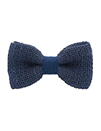 Bow Tie House Rustic Pre-Tied Bow Tie in 100% Burlap Hessian (Small, Blue)