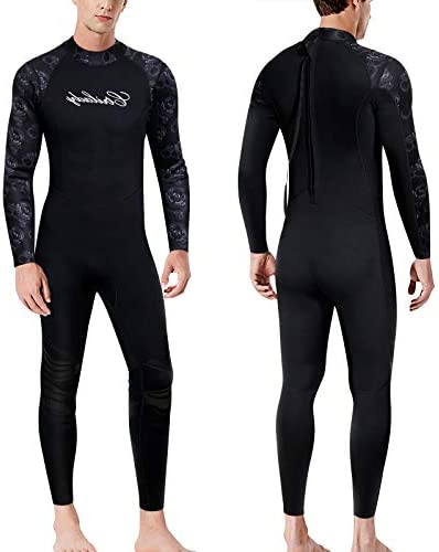 CtriLady Wetsuit Men Neoprene Full Diving Suit Long Sleeve Swimsuit with Back Zipper UV Protection Full Body Wetsuit for Swimming, Diving, Surfing and Snorkeling