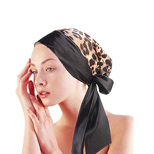(Satin Sleeping Cap Silk Bonnet Turban Multipurpose Headwear with Long Drawstring (One Size, Leopard))