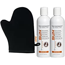 Sun Laboratories 8oz Tan Overnight Self Tanning Lotion 2-pack + Self Tanning Mitt - Self Tanner - Natural Sunless Tanning Lotion, Body and Face for Bronzing and Golden Tan - Very Dark Sunless Bronzer