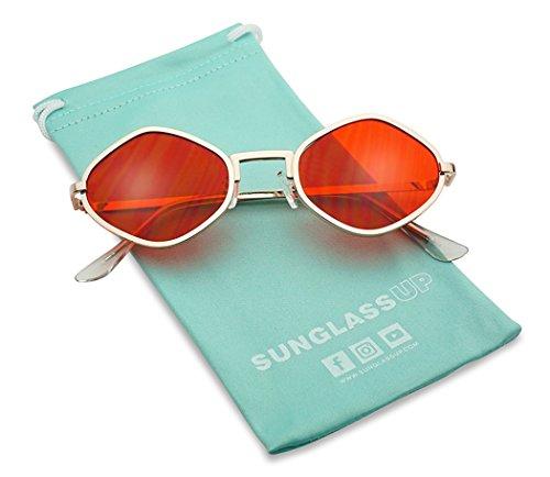 Full Metal Geometric Color Tinted Flat Lens Designer Inspired Sun Glasses (Gold Frame | Red)