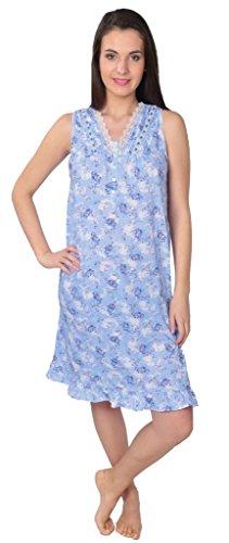 Beverly Rock Women's Floral Print Sleeveless Knit Nightgown RF112 Blue L
