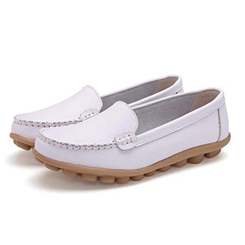 AMA(TM) Women Leather Flats Slip On Loafers Soft Comfort Driving Walk Shoes White UEK6iG6UP7