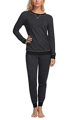 - Felina Women's 2 Piece Lounge Pajama Set (Black, Small)