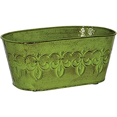 Robert Allen MPT01897 Fleur De Lis Series Metal Oval Planter Flower Pot, 10