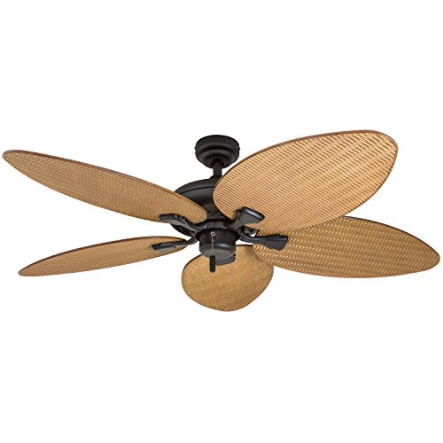Honeywell Palm Island 50505-01 52-Inch Tropical Ceiling Fan, Five Palm Leaf Blades, Indoor/Outdoor, Damp Rated, Sandstone