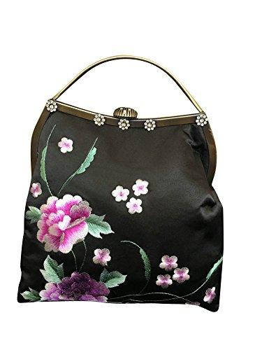 Soirée Fait Interact Pochette Oriental Main D'art China Sac À 100 Broderie Femme Noir 101 qwT861