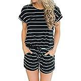 Artfish Women's Summer Striped Jumpsuit Casual Loose Short Sleeve Jumpsuit Rompers (L, 01Black Striped)