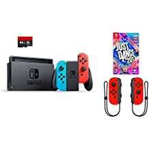 Nintendo Switch 4 items Bundle:Nintendo Switch 32GB Console Red and Blue Joy-con,64GB Micro SD Memory Card and an Extra Pair of Nintendo Joy-Con (L/R) Wireless Controllers Neon Red,Just Dance 2017