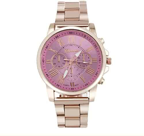 Nadition Clearance !!! 10 Colour Roman Number Geneva Stainless Steel Quartz Sports Dial Wrist Watch