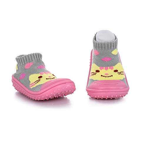 (HOWELL Unisex Baby Socks Shoes Anti Slip Floor Socks with Soft Rubber Bottom Infant Newborn Cotton Sock Boots (Pink Cat), insole 12cm-6-12M )