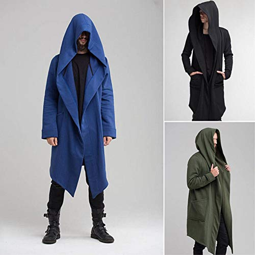 Men's Long Trench Coat Winter Long Hoodie Cardigan Cape Coat Loose Jacket Overcoat