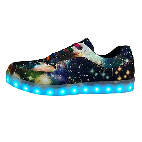 DAYOUT Unique Galaxy Print Led Light up Sneakers for Adults Mens Womens Luminous Canvas Shoes (Mens US 7 = EU 40, Blue) by DAYOUT (Image #1)