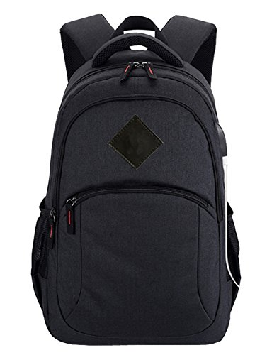Laptop Backpack Travel Computer Bag Student Bookbag Hiking Daypack w/USB Charging Port (Black) by Sheliky (Image #1)