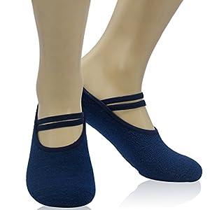 Women's Non-Slip Yoga Socks, Home Slipper Non Skid Grip Ballet Pilates Barre Low Cut Workout Dance Socks