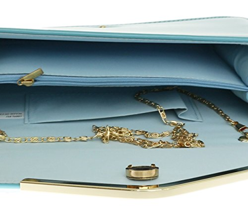 Party Clutch Frame Bag Envelope Bag Mint Leather Faux Metallic HandBags Beautiful Girly Patent Blue Shoulder nW4ggU
