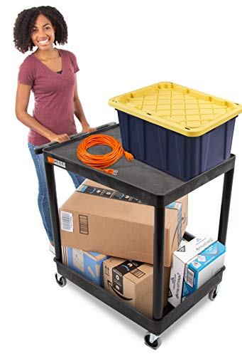 Original Tubstr - Flat Top Utility Cart/Service Cart - Large, 32 x 24 Inches - Heavy Duty, Supports up to 400 lbs - Lipped Top Shelf and Deep Tub Bottom Shelf- Great for Warehouse, Cleaning and More (Flat Top Utility Cart)