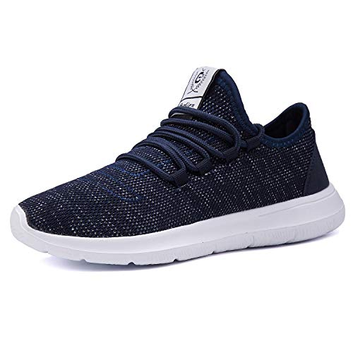 XUNMU Men's Walking Shoes Mesh Casual Athletic Shoes Running Shoes Lightweight Breathable Fashion Sneakers Blue 46