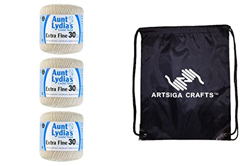 Aunt Lydia's Extra Fine Crochet Thread Size 30 (3-Pack) Natural 180-0226 with 1 Artsiga Crafts Project Bag Fine Crochet Thread