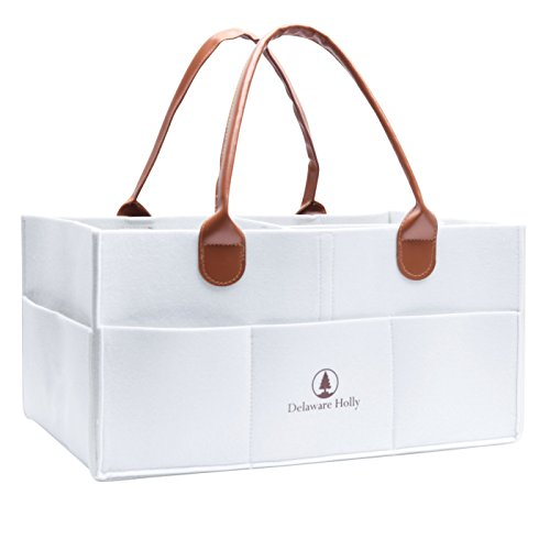- Extra Large Diaper Caddy by Delaware Holly: Felt Baby Diaper Storage Caddy with Leather Handles | Portable Storage Caddy Organizer/Nursery Organizer/Toy Caddy Organizer | Baby Shower Gifts