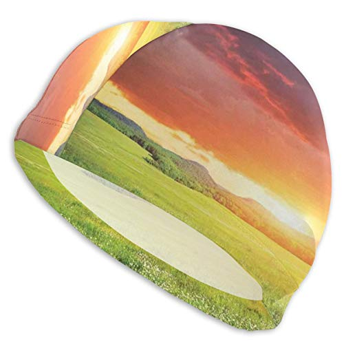 (K0k2to Swimming Cap Elastic Swimming Hat Diving Caps,Mystical Horizon with Dark Storm Cloud in Meadow with Sunset View Image Modern Decor,for Men Women Youths)