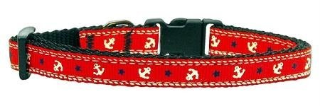 Mirage Pet Products Anchors Nylon Ribbon Collar for Pets, Small, Red