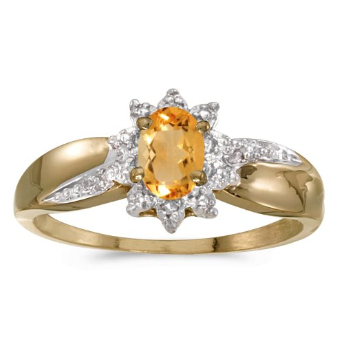 0.32 Carat ctw 14k Gold Oval Yellow Citrine Solitaire & Halo Diamond Fashion Swirl Cocktail Ring - Yellow-gold, Size (14k Gold Diamond Swirl Ring)
