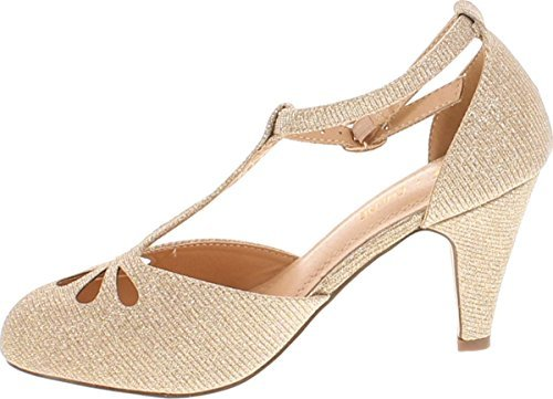 Chase & Chloe Kimmy-36 Women's Teardrop Cut Out T-Strap Mid Heel Dress Pumps (8.5, Nude Glitter)