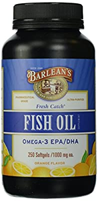 Barlean's Organic Oils Fresh Catch Fish Oil Omega-3 Softgels, Orange Flavor, 250 Count by AmazonUs/BARHE