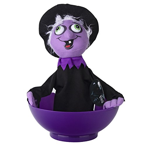 KI Store Halloween Candy Bowl Witch Animated Candy Bowls Halloween Decorations for Treat or Trick Candy Holder Container(Witch)