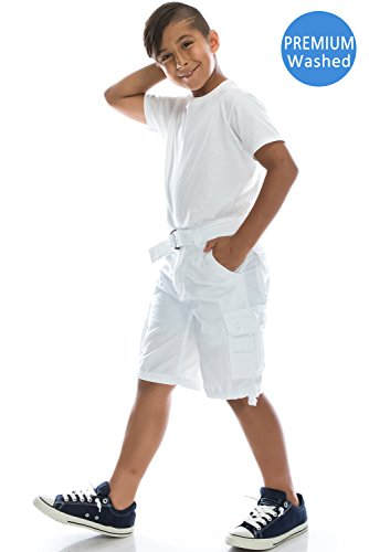 Boys Hipster Hip Hop Belted Premium Washed WHITE Cargo Shorts 12