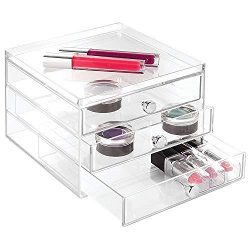 InterDesign Drawers Organizador de maquillaje con 3 cajones, Plástico transparente