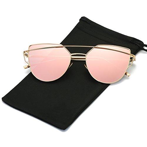 LKEYE -Cat Eye Sunglasses Coating Mirrored lens Metal Frame LK1701