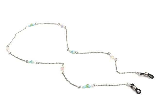 783d38ae9c2 Bouquet Flower Silver Eyeglass Chain with Swarovski Crystals Eyewear  Holder