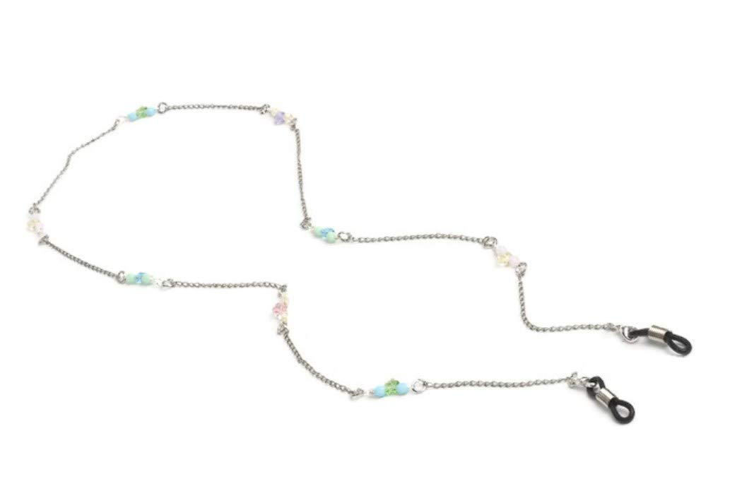 Bouquet Flower Silver Eyeglass Chain with Swarovski Crystals Eyewear Holder, Luxury Accessories for Glasses Women and Kids, Unique Gift Ideas, Birthday's Christmas and more.