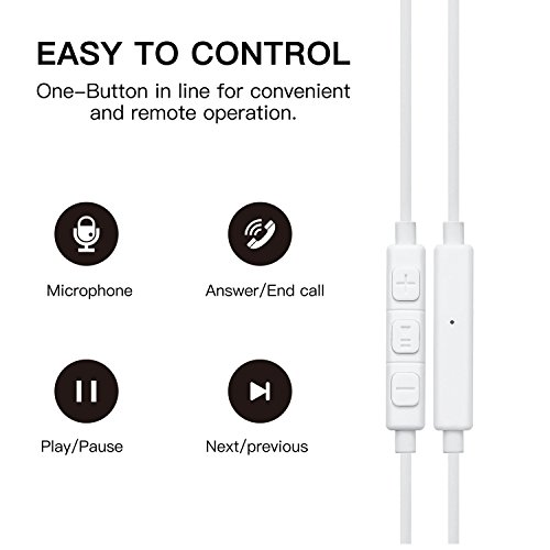 Premium Quality Earphones/Earbuds/Headphones with Stereo Mic and Remote Control Fully Compatible with iPhone iPad iPod Android Smartphones and Other Devices with 3.5mm Jack Plug(2 Pack White). by VOWSVOWS (Image #2)