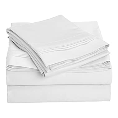 1000 Thread Count 100% Premium Long-Staple Combed Cotton, King Bed Sheet Set, Single Ply, Solid, White