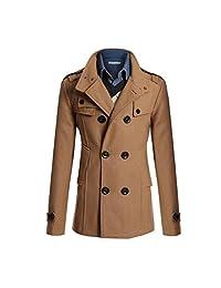 XWDA Pea Jacket Men Wool Trench Coat Winter Double Breasted Outwear