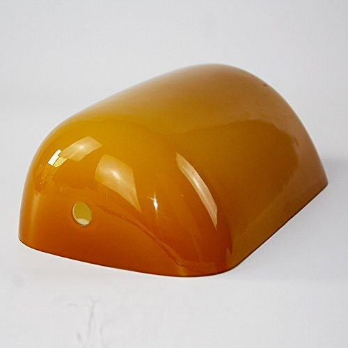 Newrays Glass Banker Lamp Shade Replacement L8.85 W5.3 (Amber)