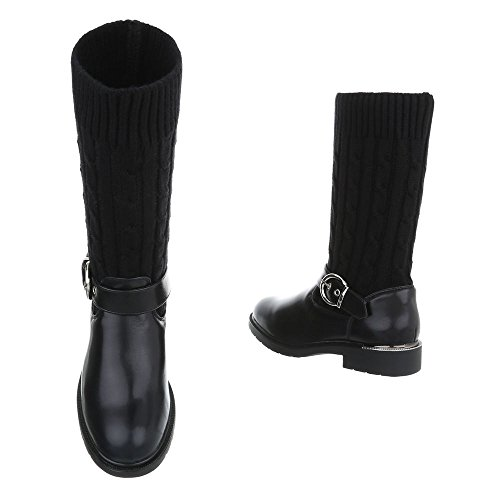 Zapatos para mujer Botas Tacón ancho Botas camperas Ital-Design Negro