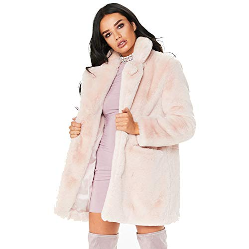 Rvxigzvi Womens Faux Fur Coat Plus Size Parka Jacket Long Trench Winter Warm Thick Outerwear Overcoat XS-4XL (Light Pink-, US S/4-6) (Faux For Coat Women Fur)